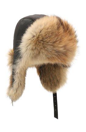 Шапка-ушанка из меха койота | Фото №1
