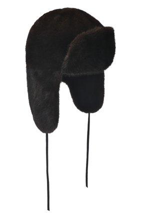 Мужская шапка-ушанка из меха норки FURLAND коричневого цвета, арт. 0217500110189600000 | Фото 1
