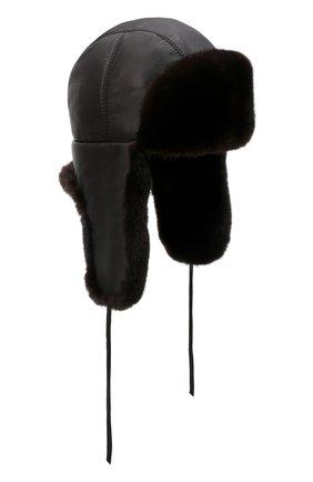 Кожаная шапка-ушанка с отделкой из меха норки | Фото №1