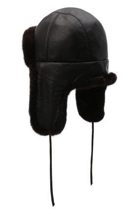 Кожаная шапка-ушанка с отделкой из меха норки | Фото №2