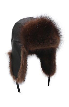 Кожаная шапка-ушанка с отделкой из меха фишера | Фото №1