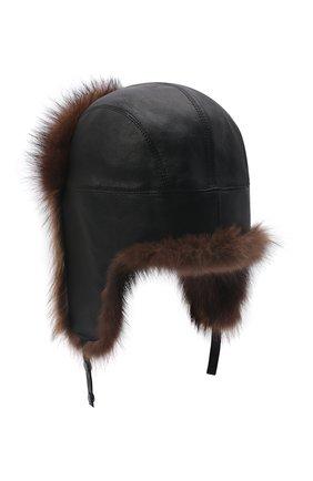 Кожаная шапка-ушанка с отделкой из меха фишера | Фото №2