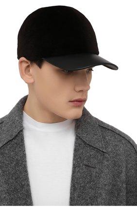 Мужской бейсболка из меха норки KUSSENKOVV темно-коричневого цвета, арт. 380218504140 | Фото 2