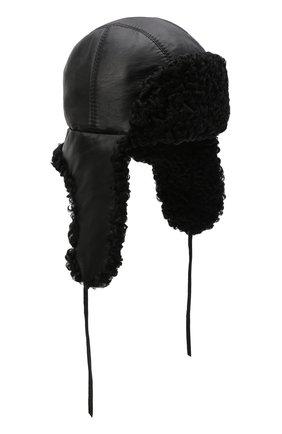 Мужская кожаная шапка-ушанка с отделкой из меха каракульчи FURLAND черного цвета, арт. 0017103910092100000   Фото 1