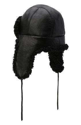 Мужская кожаная шапка-ушанка с отделкой из меха каракульчи FURLAND черного цвета, арт. 0017103910092100000   Фото 2