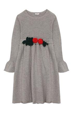Детское шерстяное платье IL GUFO серого цвета, арт. A19VT074EM220/5A-8A | Фото 1