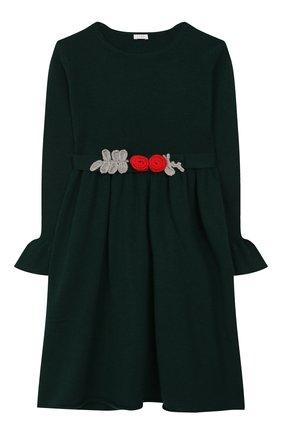 Детское шерстяное платье IL GUFO темно-зеленого цвета, арт. A19VT074EM220/5A-8A   Фото 1 (Рукава: Длинные; Материал внешний: Шерсть; Случай: Повседневный; Ростовка одежда: 4 года   104 см, 5 лет   110 см, 7 лет   122 см)