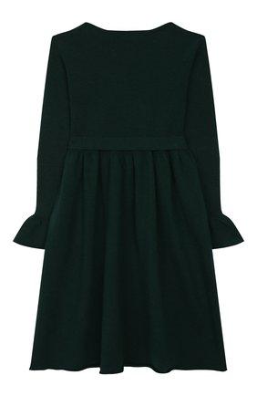 Детское шерстяное платье IL GUFO темно-зеленого цвета, арт. A19VT074EM220/5A-8A   Фото 2 (Рукава: Длинные; Материал внешний: Шерсть; Случай: Повседневный; Ростовка одежда: 4 года   104 см, 5 лет   110 см, 7 лет   122 см)