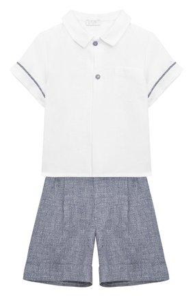 Детский комплект из рубашки и шорт IL GUFO голубого цвета, арт. P20DP324L0011/12M-18M | Фото 1