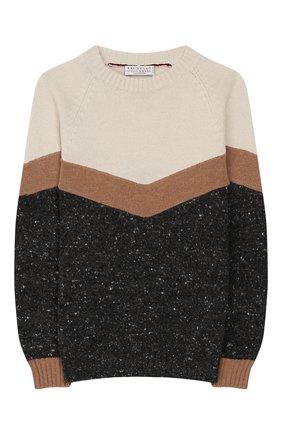 Детский шерстяной пуловер BRUNELLO CUCINELLI разноцветного цвета, арт. B46700100A | Фото 1