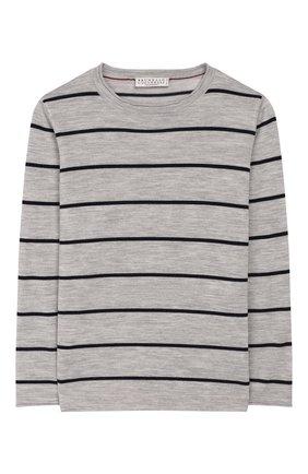 Детский шерстяной пуловер BRUNELLO CUCINELLI серого цвета, арт. B24801500C | Фото 1