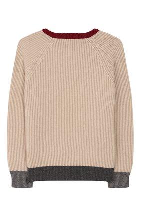 Детский кашемировый пуловер BRUNELLO CUCINELLI бежевого цвета, арт. B22700000B | Фото 2