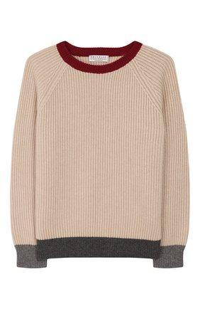 Детский кашемировый пуловер BRUNELLO CUCINELLI бежевого цвета, арт. B22700000A | Фото 1