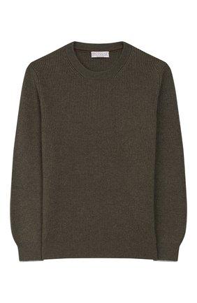 Детский кашемировый пуловер BRUNELLO CUCINELLI хаки цвета, арт. B2229510B | Фото 1