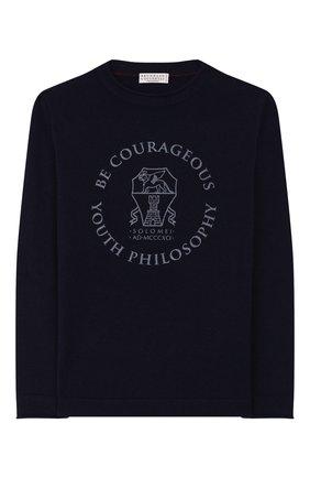Детский кашемировый пуловер BRUNELLO CUCINELLI темно-синего цвета, арт. B2211930B | Фото 1