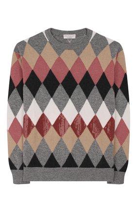 Детский пуловер из шерсти и кашемира BRUNELLO CUCINELLI разноцветного цвета, арт. B16181520A | Фото 1
