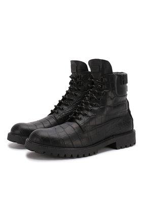 Мужские кожаные ботинки PHILIPP PLEIN черного цвета, арт. MSE0118 | Фото 1