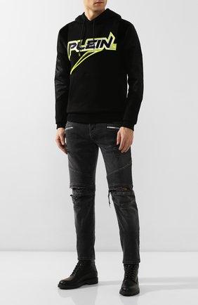 Мужские кожаные ботинки PHILIPP PLEIN черного цвета, арт. MSE0118 | Фото 2