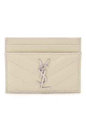 Женский кожаный футляр для кредитных карт SAINT LAURENT белого цвета, арт. 423291/B0W02 | Фото 1