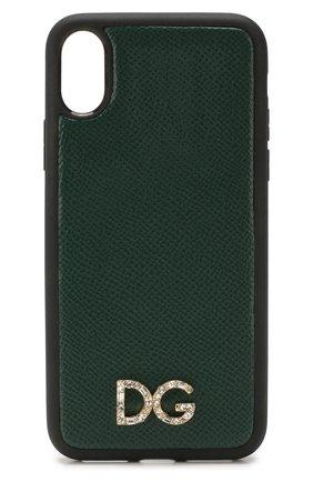 Мужской кожаный чехол для iphone x/xs DOLCE & GABBANA темно-зеленого цвета, арт. BI2408/AU770 | Фото 1