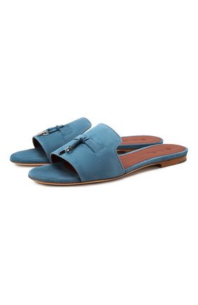 Женские замшевые шлепанцы summer charms LORO PIANA голубого цвета, арт. FAI5580 | Фото 1