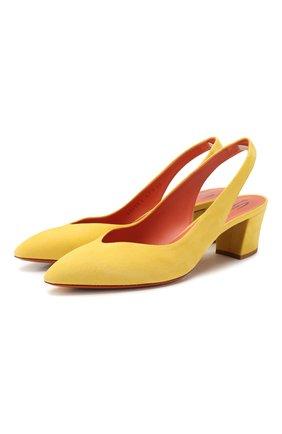 Женская замшевые туфли SANTONI желтого цвета, арт. WDHC58660HI2RMGDL67 | Фото 1