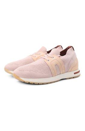 Женские текстильные кроссовки 360 lp walk LORO PIANA розового цвета, арт. FAL0096 | Фото 1