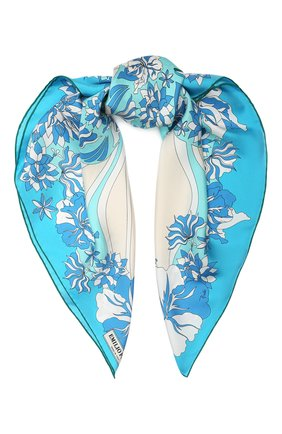 Женский шелковый платок EMILIO PUCCI голубого цвета, арт. 0EGB22/0EV22 | Фото 1