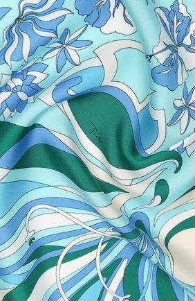 Женский шелковый платок EMILIO PUCCI голубого цвета, арт. 0EGB22/0EV22 | Фото 2