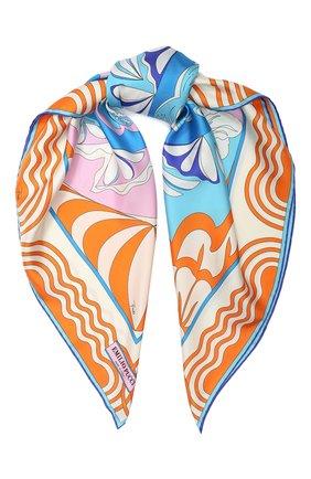 Женский шелковый платок EMILIO PUCCI оранжевого цвета, арт. 0EGB42/0EM42 | Фото 1