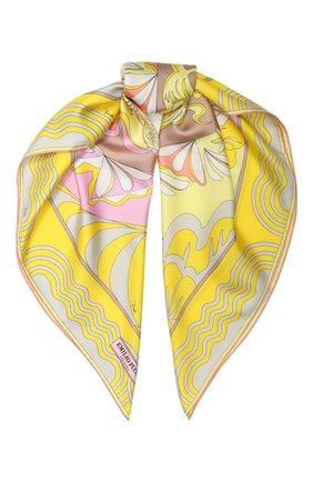 Женский шелковый платок EMILIO PUCCI желтого цвета, арт. 0EGB42/0EM42 | Фото 1