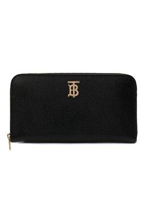 Женские кожаный кошелек BURBERRY черного цвета, арт. 8023297   Фото 1
