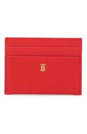 Женский кожаный футляр для кредитных карт BURBERRY красного цвета, арт. 8020721 | Фото 1
