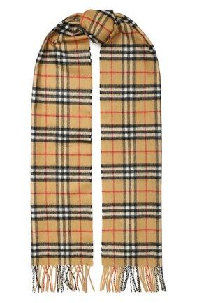 Мужские кашемировый шарф BURBERRY бежевого цвета, арт. 8015556 | Фото 1