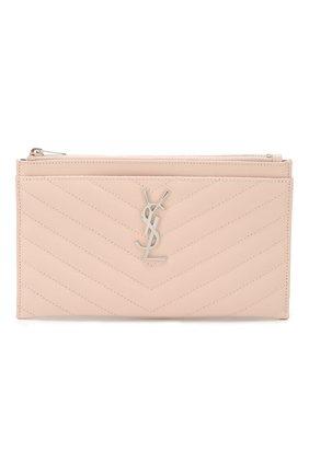 Женские кожаный футляр для документов SAINT LAURENT светло-розового цвета, арт. 504922/B0W02 | Фото 1