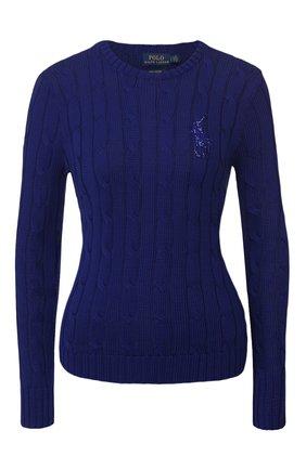Женская хлопковый пуловер POLO RALPH LAUREN синего цвета, арт. 211780365 | Фото 1