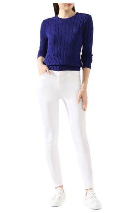 Женская хлопковый пуловер POLO RALPH LAUREN синего цвета, арт. 211780365 | Фото 2