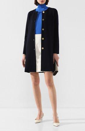 Женское шерстяное пальто ESCADA синего цвета, арт. 5032580 | Фото 2