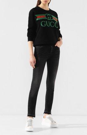Женская хлопковый свитшот GUCCI черного цвета, арт. 469250/XJCCG | Фото 2