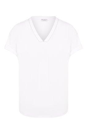 Женская хлопковая футболка BRUNELLO CUCINELLI белого цвета, арт. M0045BP200 | Фото 1
