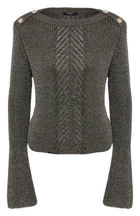 Женская свитер из смеси вискозы и хлопка BALMAIN хаки цвета, арт. TF13352/K052 | Фото 1