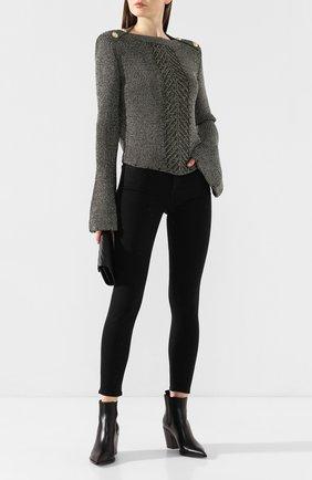 Женская свитер из смеси вискозы и хлопка BALMAIN хаки цвета, арт. TF13352/K052 | Фото 2