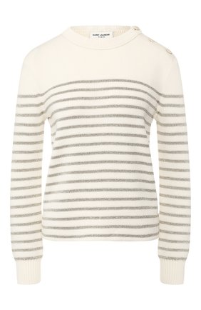 Женская пуловер SAINT LAURENT белого цвета, арт. 605488/YAFS2 | Фото 1