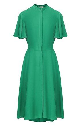 Женское шелковое платье ALEXANDER MCQUEEN хаки цвета, арт. 605280/QBAAF | Фото 1