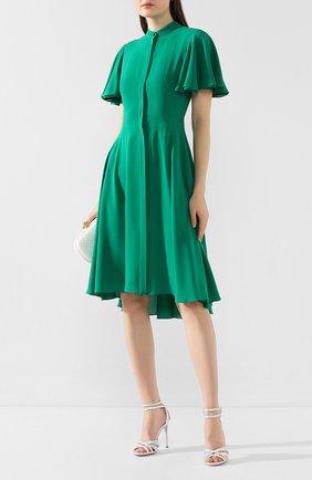 Женское шелковое платье ALEXANDER MCQUEEN хаки цвета, арт. 605280/QBAAF | Фото 2