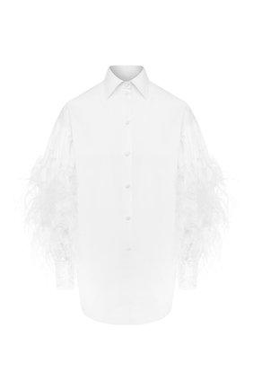 Рубашка с отделкой перьями | Фото №1
