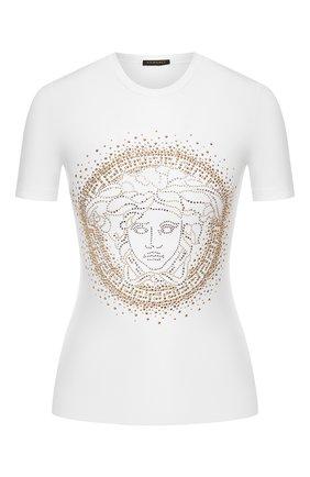 Женская хлопковая футболка VERSACE белого цвета, арт. A82241/A232123 | Фото 1