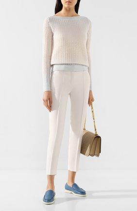 Женская пуловер из смеси кашемира и шелка LORO PIANA бежевого цвета, арт. FAI9320 | Фото 2