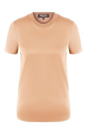 Женская хлопковая футболка LORO PIANA бежевого цвета, арт. FAI5069 | Фото 1