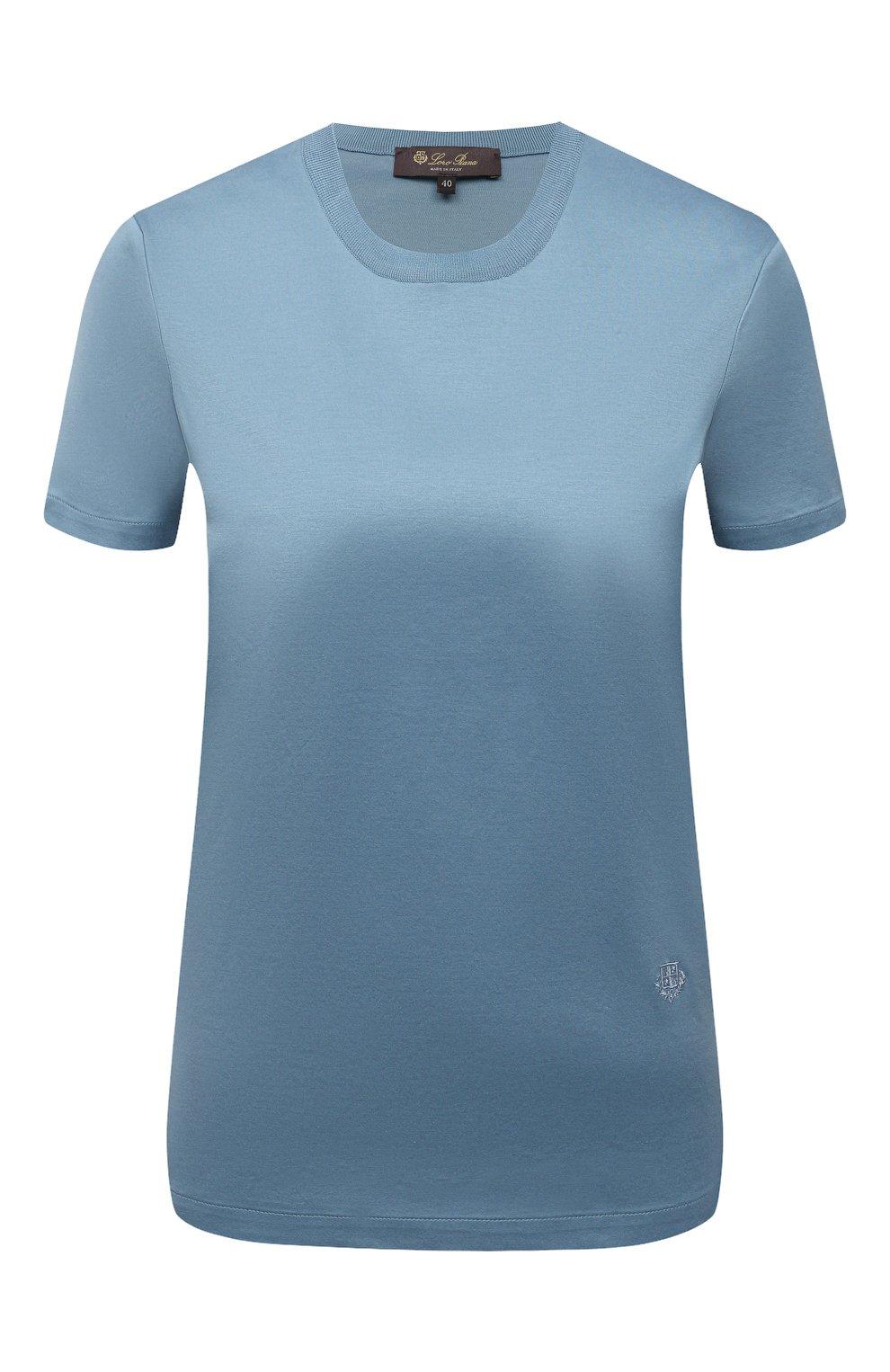 Женская хлопковая футболка LORO PIANA голубого цвета, арт. FAI5069 | Фото 1